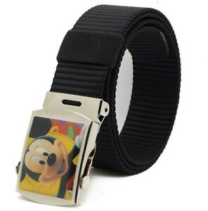 NEW-Children-Kid-Boys-handsome-Black-Mickey-Mouse-Casual-Nylon-Pants-Buckle-Belt