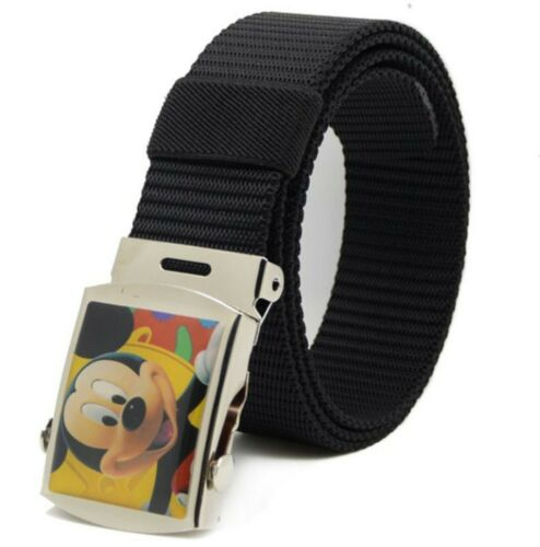 NEW Children Kid Boys handsome Black Mickey Mouse Casual Nylon Pants Buckle Belt