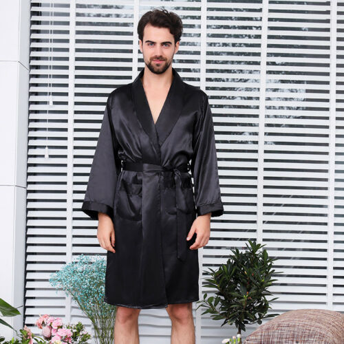 Herren Shorts  Seidensatin-Kimono-Morgenmantel Weiche Nachtwäsche Bademantel