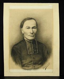 Drawing-original-xixth-a-priest-Franche-comte-charcoal-signed-F-Millischert