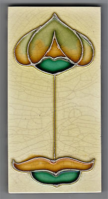 TUBELINED TILE WITH ART NOUVEAU DESIGN 6IN by 3IN by 3/8IN THICK