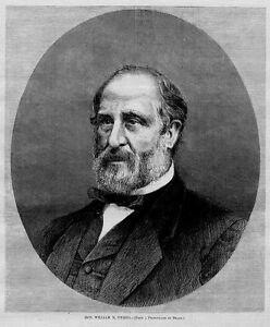 WILLIAM M. TWEED 1871 ANTIQUE PORTRAIT WOODCUT ENGRAVING GENEALOGIST TWEED
