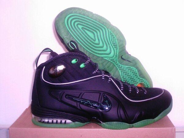 nike air 1 2 demi - cent cent cent un lil penny hardaway Noir Vert foamposite chaussures 10,5 6d45be