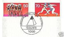 Berlin 1978: Radrennen und Fechten! Sport Nr. 567+568 mit Ersttagsstempel! 1602