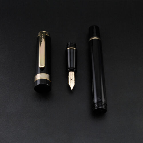 2017 Wing Sung 698 Piston 14K Gold Pen Black Golden Clip Fine Nib Without Box