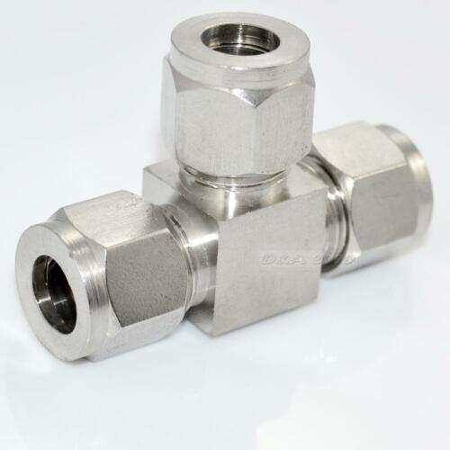 "10mm 3//8/"" Equal TEE Compression Double Ferrule Connector Plumbing Pipe SS 304"