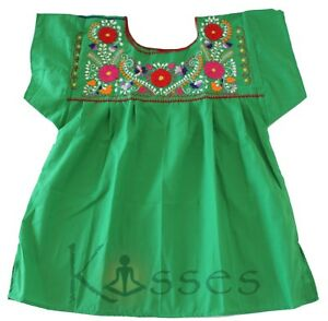 Details About Mexican Peasant Blouse Hand Embroidered Top Colors Vintage Style Tunic Green