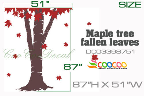 """Wall Decor Decal Sticker Removable vinyl large Maple tree fallen leaves B 87/"""""""