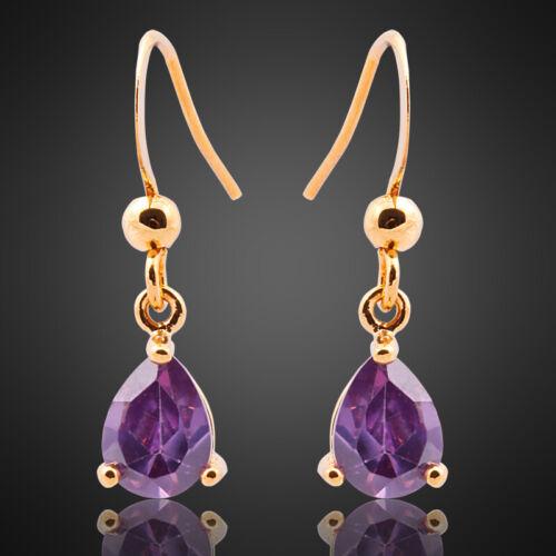 Neu Modeschmuck Damen Geschenk Gold Vergoldet Lila Amethyst Birne Ohrringe