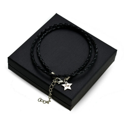 Personalised black leather bracelet for mum dad mothers day fathers present gift