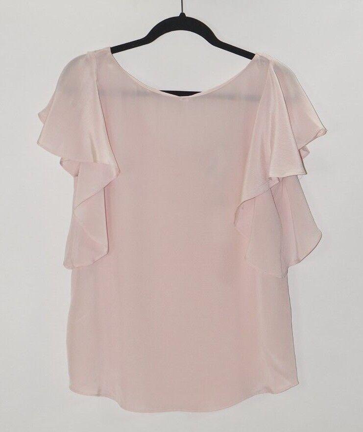 MILLY Blaush Rosa Gemma Ruffle Sleeve Silk Blouse Top