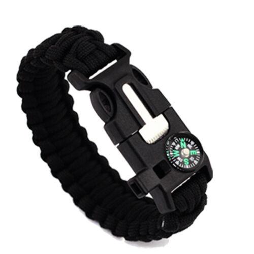 Sifflet Camping Gear Flint Fire Starter Paracord Survival Bracelet boussole