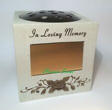 Grave Flower Pots Vase Rose Bowl Ornament Funeral Memorial With Engraving Plate