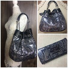 Large Bebe Drawstring Sequin Leather Shoulder Bucket Bag w/ Wallet | P