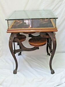 Antique Soda Fountain Table Swing Out Stools Glass Showcase Top 1890's Rare