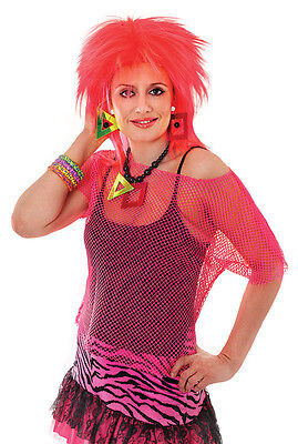 80/'s 90/'s Neon Pink Mesh Top 10-14 Funky Groovy Rave Fancy Dress