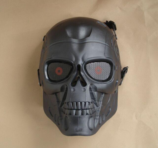 Black Paintball Gun Full Face Protection T800 Terminator Skull Mask Prop JDM19