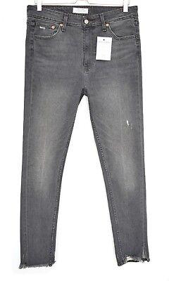 Damen Levis Skinny High Rise 721 grau Raw Saum Stretch Jeans 14 w31 l30 | eBay