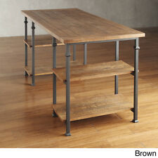 New Wood Metal Office Vintage Industrial Modern Rustic Storage Desk With  Shelves