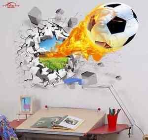 Wandbild-Wandtattoo-Fussball-Feuerball-Fussball-Lederball-Fan-Bild-Neu-Deko-Top-u