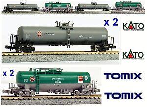 KATO-TOMIX-TRAIN-MARCHANDISES-N-4-WAGONS-CITERNE-PETROLE-ESSENCE-a-l-etape-LONG