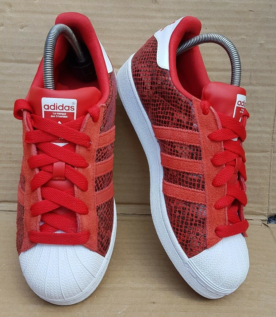 GORGEOUS ADIDAS SUPERSTAR SNAKE PACK ROT UK & Weiß SIZE 6 UK ROT EXCELLENT CONDITION e42cdf