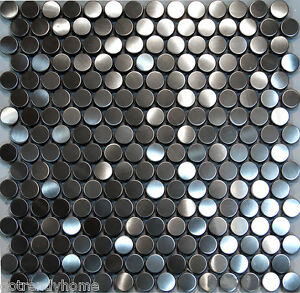 Image Is Loading 1sf Penny Circle Stainless Steel Mosaic Tile Backsplash