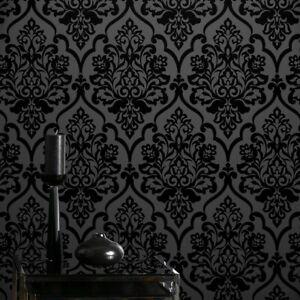 Details About Classic Mystery Black Velvet Flocking Damask Wallpaper Textile Wallcovering