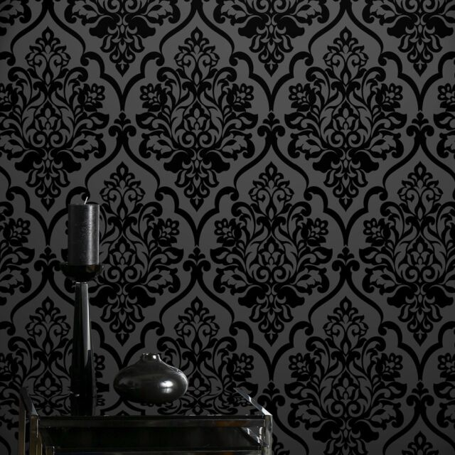 Classic Black Velvet Flocking Damask Wallpaper Textile Wallcovering For Sale Online Ebay