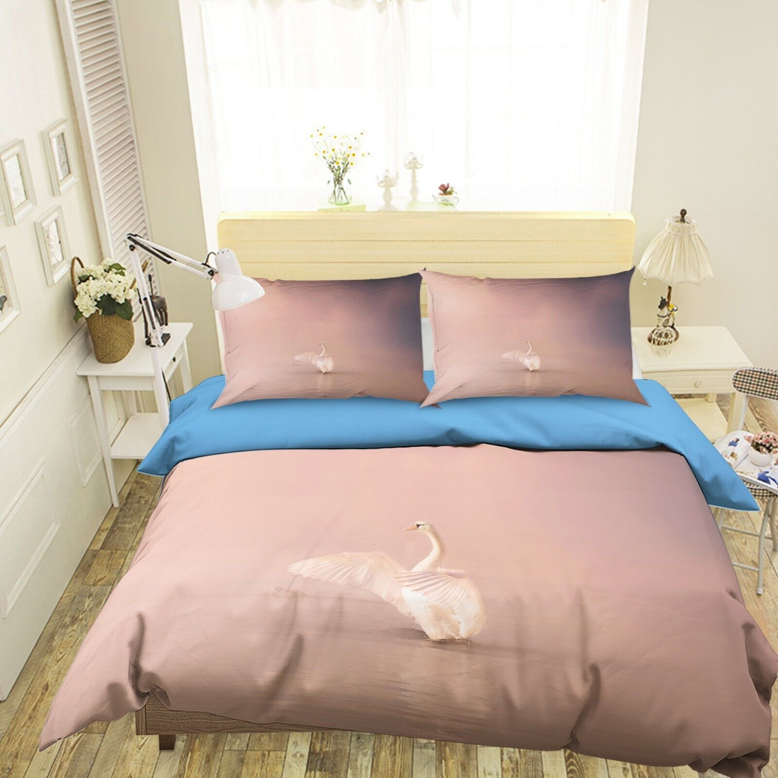 3D Lake Swan N04 Animal Bed Pillowcases Quilt Duvet Cover Queen King Amy