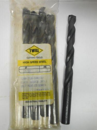 """5 pcs TWILL 13//32/"""" Jobber Length Twist Drills bits black oxide 135 Split Point"""