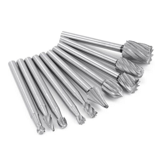 10pc Tungsten Carbide Cutting Burr Set Dremel Drill Bits rotary grinder grinding