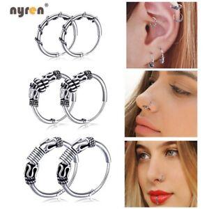 Multi Style Silver Piercing Earrings Ring Hoop Ear Lip Nose Body