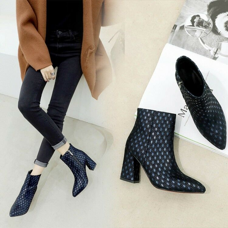 Occident 2019 New Fashion Retro Bristish Ankle Boots Ladies Pointed Block Heels
