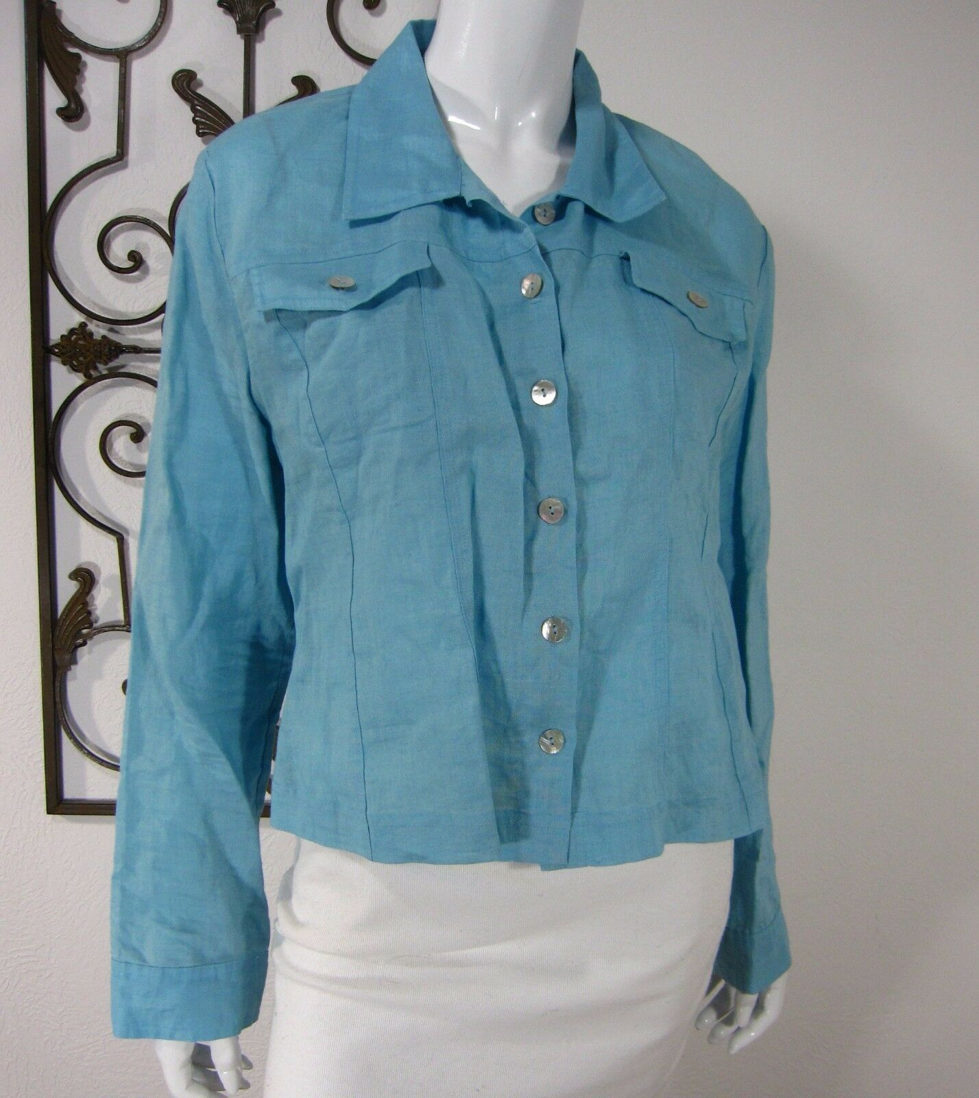 Allison Taylor 100% Linen Long Sleeve Blouse Size XL EXTRA LARGE Solid bluee