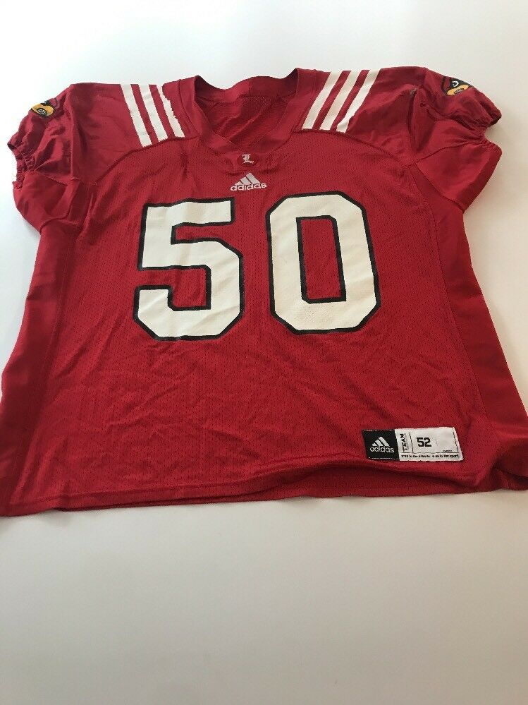 hot sale online ee271 f3814 Game Worn Used Louisville Cardinals UL UL UL Football Jersey Adidas Size 52  239b21
