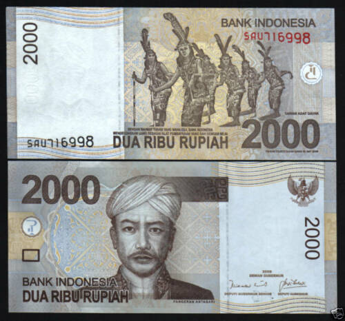 INDONESIA 2000 2,000 RUPIAH NEW 2009 BUNDLE DANCER UNC NOTE 100 PCS MONEY LOT