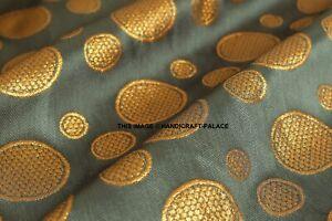 Gray-Gold-Floral-metallic-print-Indian-faux-silk-banarsi-Brocade-fabric-49-034-Wide