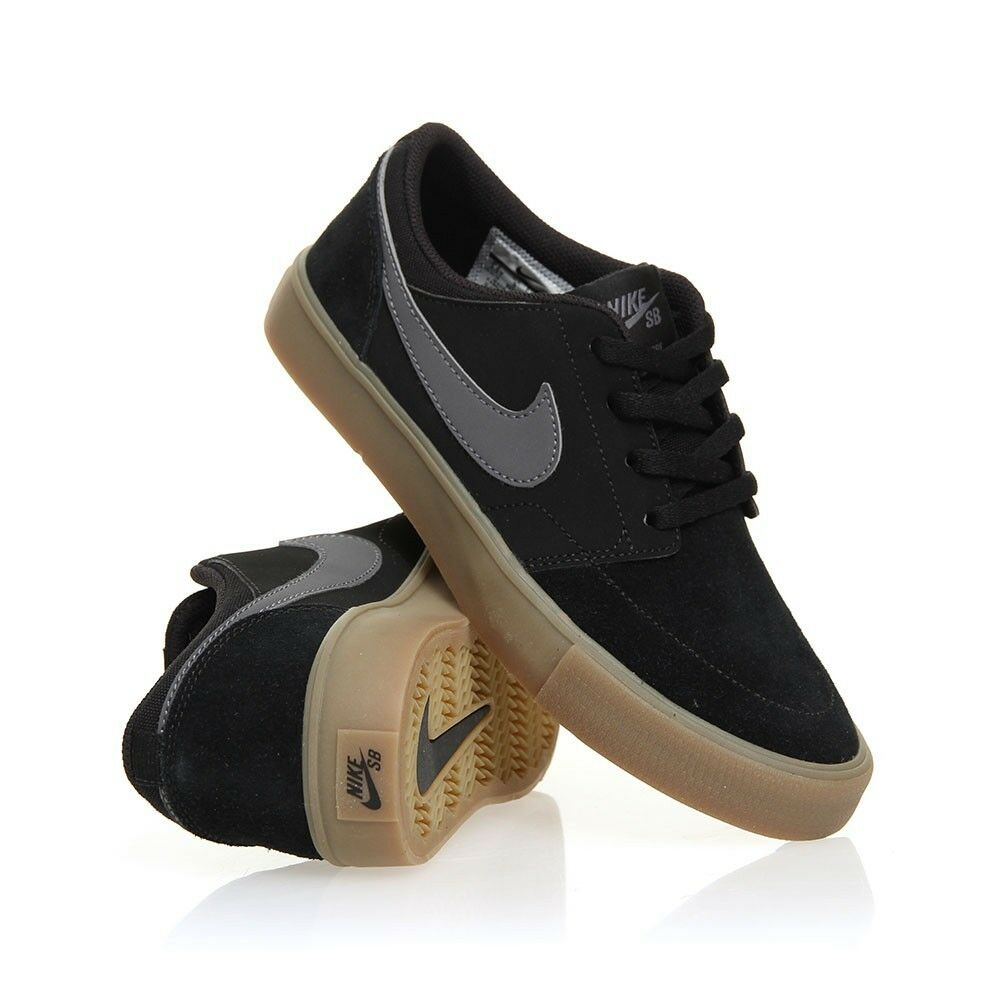 Nike SB Portmore LL solaire Suede homme noir Gris Skate chaussures Brand new Taille UK 8.5-
