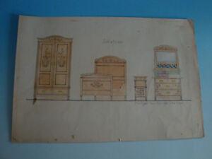 Details zu RS1118-062: Jugendstil Zeichnung Skizze Otto Klenk Möbel  Schlafzimmer