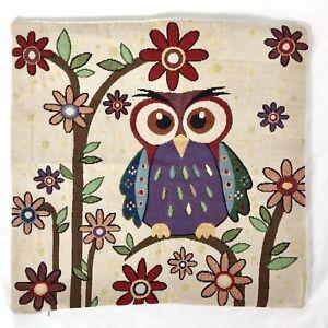 Mid-Century-Modern-Owl-Pillow-Cover-MCM-Retro-Flowers-17-034-x-17-034-Vintage-Retro