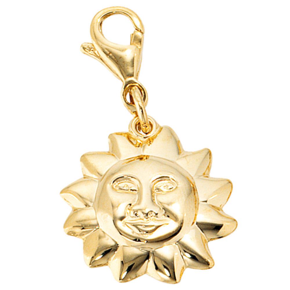 NUOVO CIONDOLO SOLE charm bracciale ciondolo in vero vero vero oro giallo 333er 333 8 CARATI ceb239