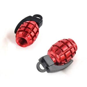 4x-Red-Grenade-Car-Bike-Motorcycle-BMX-Wheel-Tyre-Valve-Metal-Dust-Caps-D-CIU