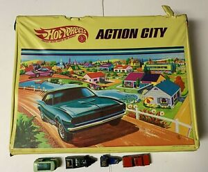 Vintage-Hot-Wheels-Action-City-Playset-1968-034-REDLINES-034-5158-w-4-Cars