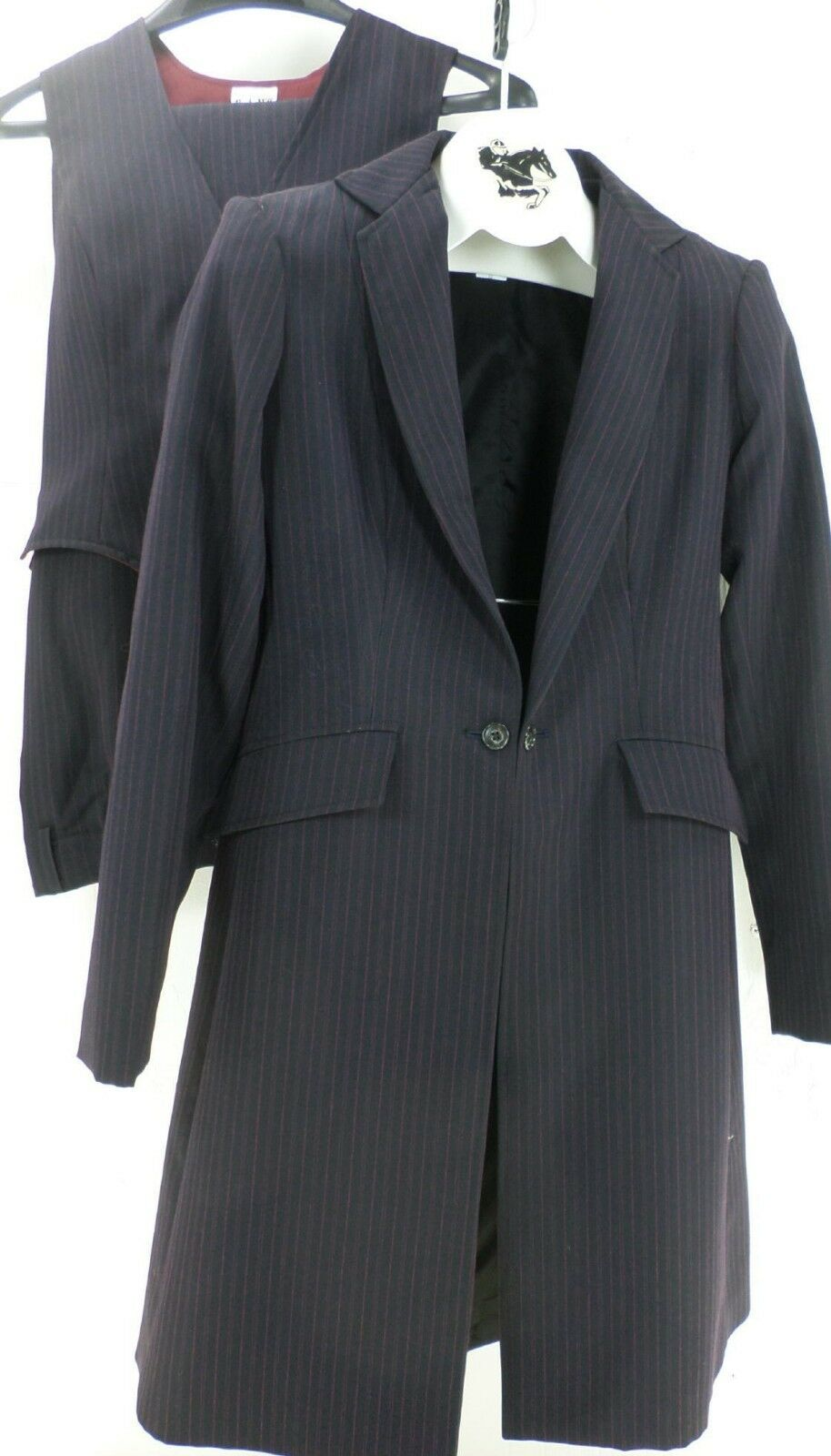 Reed Hill Saddleseat Ld 3p suit Ink Navy Pin  poly size 10 - USA