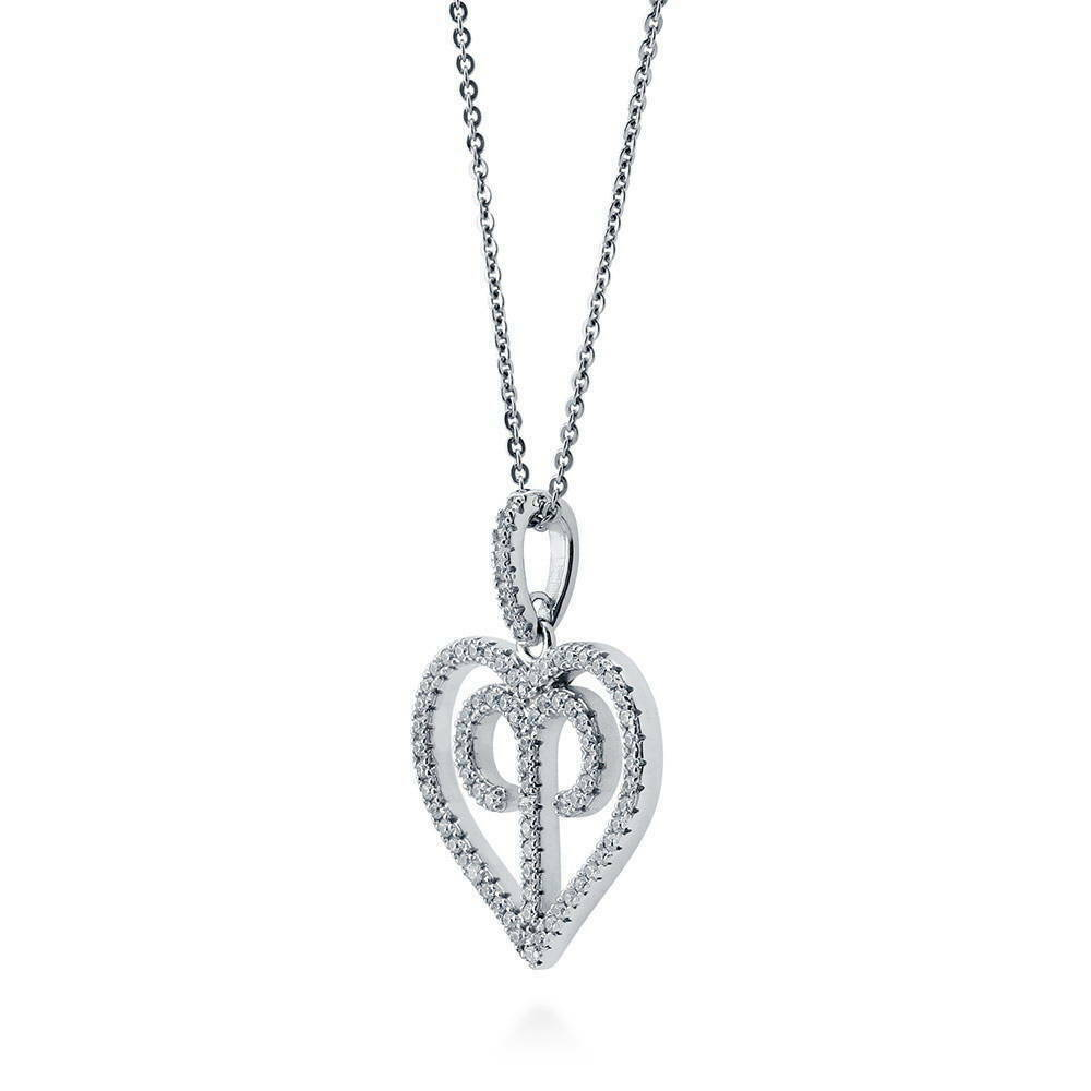 BERRICLE Rhodium Plated Sterling Silver Cubic Zirconia CZ Zodiac Aquarius Wedding Pendant Necklace