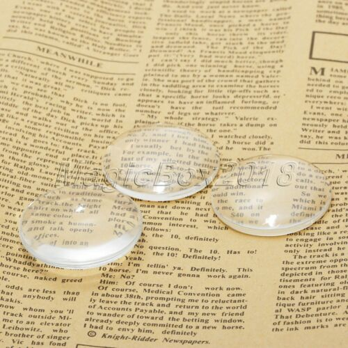 6mm-50mm Crystal Clear Round Cabochon Flat Back Glass Dome Tile Jewellery Making