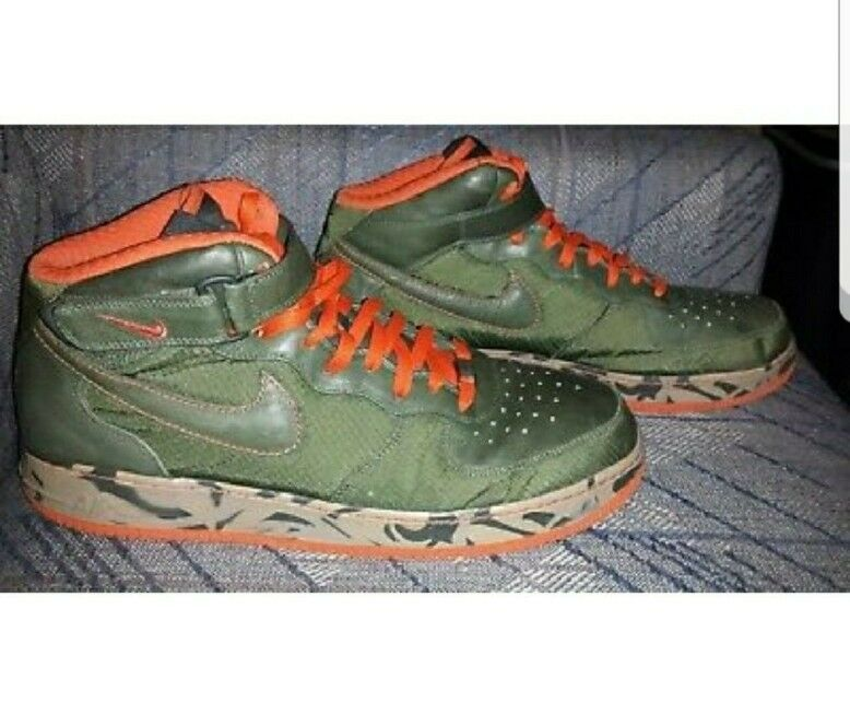 Rare 2007 Nike Air Force One 1 Berlin Mid Camoflauge Mens shoes 15m Green orange