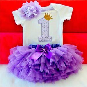 Bébé Filles Premier 1st Anniversaire tenue robe tutu Cake Smash Party One UK 12-18 M