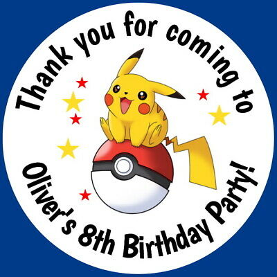 Personalised Pokemon Ball Party Bag Stickers Round Labels Thank You Sweet Cone